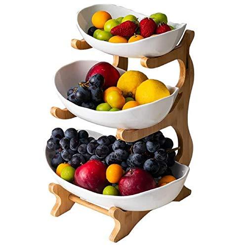 WYFFF Fruit Bowl/Fruit Basket/Fruit Stand/portafrutta a 3 Strati (Mensola in bambù * 1, Ciotola in Ceramica * 3), Cesto di Frutta con Decorazione da tavola, utilizzato per Frutta, Pane,Bianca