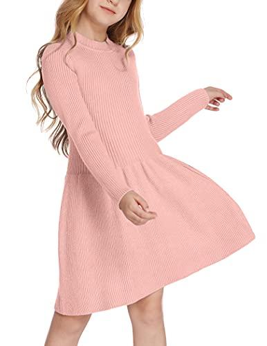 Arshiner Vestito da bambina per autunno e inverno, a maniche lunghe, per skater, linea A, tinta unita, per il tempo libero, Colore: rosa., 110 cm