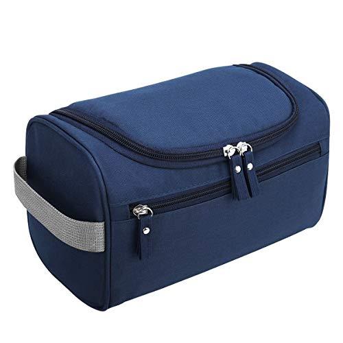 Bolsas de Aseo Neceser de Viaje Mujer Hombre Neceser para Colgar con con el Gancho Colgante Impermeable y Plegable Bolsa de Cosméticos de Baño Multifuncion para Viaje Hogar Vacaciones Azul