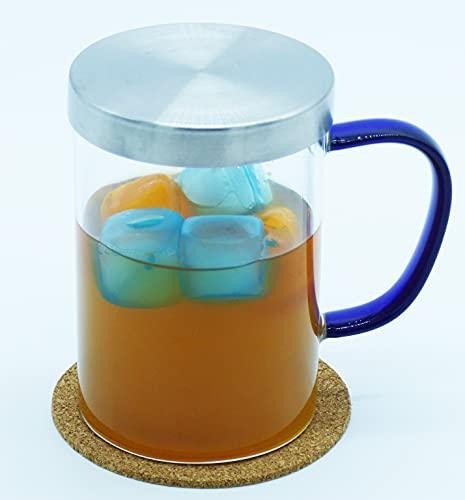taza de te con filtro y tapa taza grande con posavasos regalo cristal de borosilicato vaso con asa azul