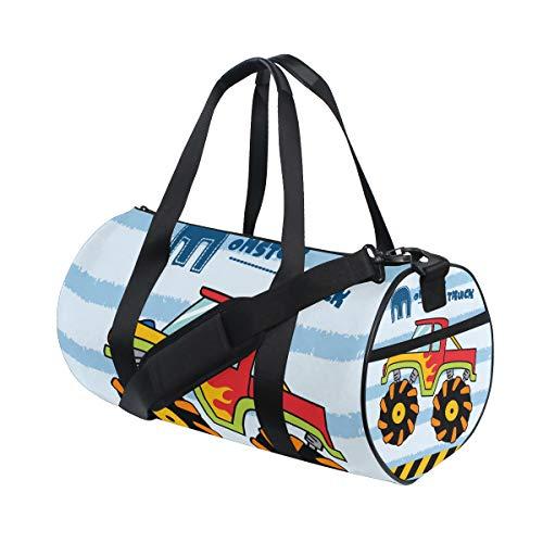 ZOMOY Sporttasche,Monster Truck Illustration Kinder,Neue Druckzylinder Sporttasche Fitness Taschen Reisetasche Gepäck Leinwand Handtasche