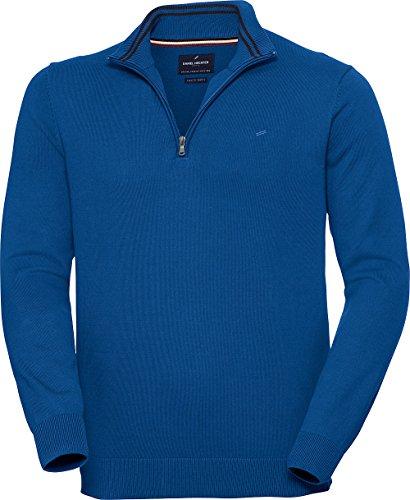 Daniel Hechter Herren Zipper-Pullover in Royalblau, eleganter Strickpullover mit Troyer-Kragen, aus Reiner Baumwolle, Gr. 48 – 60