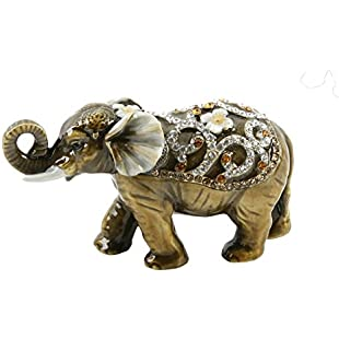 Elephant with Curled Trunk Trinket Box - Ornament - Treasured Trinkets:Diet-beauty