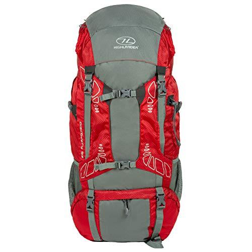 """85 Liter Discovery Rucksack von Highlander - Leichter Wanderrucksack mit wasserdichter Hülle - Ideal zum Wandern, Reisen, Trekking, Camping und """"D of E"""" - Rot"""