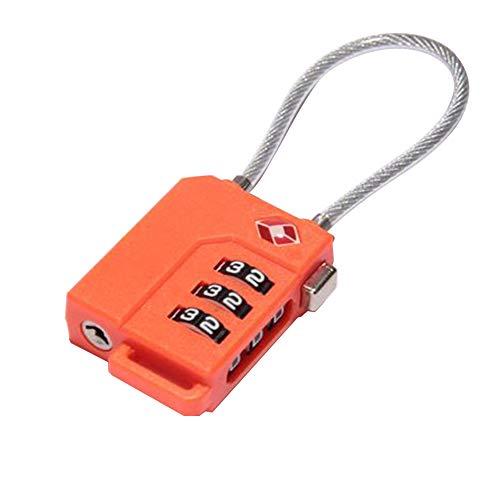 LAN - Candado Universal para Maleta (Cable antirrobo de Alambre), Naranja