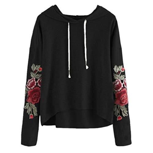 Sweatshirt mit Kapuze, Frashing Damen Langarm Kapuzenpullover Oversize Sweatshirt mit Schnürung Rundhals Pullover Bluse mit Rosenstickerei Cropped Sweatshirt
