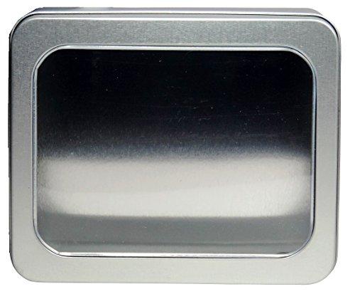 mikken - 1 x Vorratsdose mit Sichtfenster, eckige Metalldose aus Weissblech mit Stülp-Deckel (Farbe: Silber), ideal als Gebäck-, Keks- und Tabakdose verwendbar (14,2 x 11,7 x 5,7 cm)