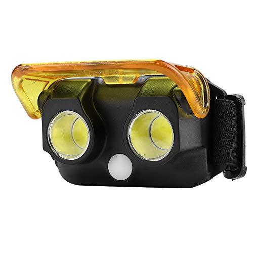 Linterna frontal LED 2COB, mini linterna impermeable ligera para exteriores, linterna frontal LED súper brillante portátil con 3 modos de luz para acampar, correr, pescar, luz nocturna(Negro)