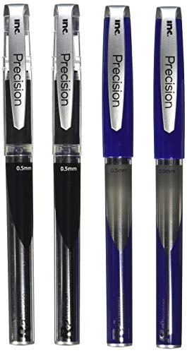 2 Lot Precision Roller Ball Pen By Brand I-N-C, Color 2 Blue/2 Black, R-2 0.5mm roller ball cap pens