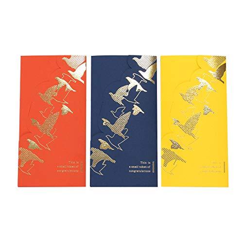 【TAKEMEKI】 ぽちぶうとう (とり) 封筒 170×82mm (3枚入り)オレンジ/ネイビー/イエロー プレゼント お祝い ギフト 結婚式 お札 祝儀 手紙 紙製 とり アニマル かわいい 子供 大人 高級感