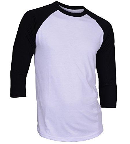 DREAM USA Men's Casual 3/4 Sleeve Baseball Tshirt Raglan Jersey Shirt White/Black Large
