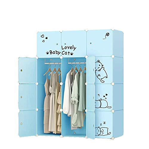 YIONGA CAIJINJIN Hangers Laundry Closet Blue Combination Wardrobe for Kids Cute Cat Designed DIY Clothes Cabinet Children Closets for Clothes Shoes Toys (Color : Blue, Size : One size)