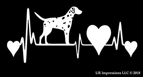 UR Impressions URI250 - Adhesivo de vinilo con diseño de latido del corazón de dálmata, para coches, camiones, SUV, furgonetas, paredes, ventanas, portátiles, 7,5 x 9,1 cm, color blanco