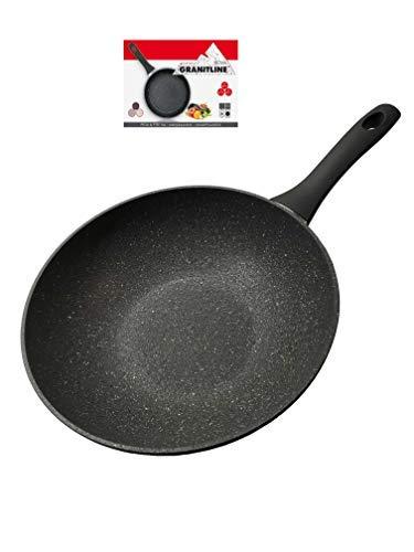 Wok Granitline,Granitpfanne,Bratpfanne,Kratzfest,induktion,antihaft,für den Grill, Kratzfest Wokpfanne 28cm,Pan