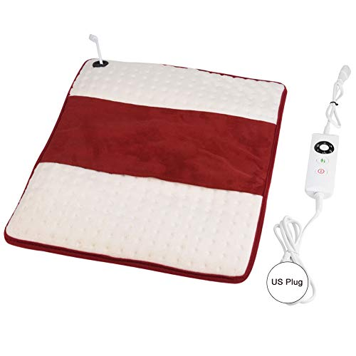 Electric Heating Pad, Heated Blankets Mat with 5 Temperature Settings and Auto-Off Timer Warm for Car Office Home Warm Cushion 16.9 14.1 0.4in(US Plug)