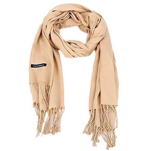 Vegena Damen Warm Schal,Klassische Volltonfarbe Cashmere Kopftücher,Tücher mit Quasten/fransen,200CM × 70CM Pashminas Beige