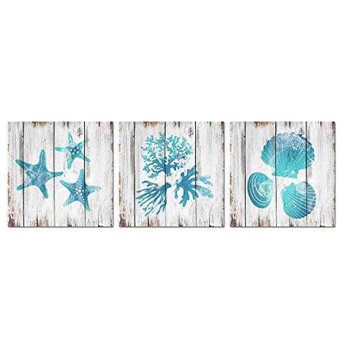Lienzo pintura Visual decoración del arte sin marco Lona azul del trullo de baño decoración de la pared Concha Coral estrellas de mar decoración de pintura al óleo del Mar Océano Fotos cuadros colgado