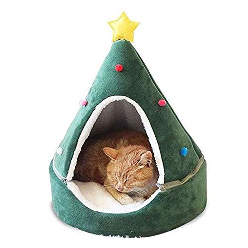 UTOPIAY Hundebett Weihnachtsbaum Form Hundeiglu Bett mit Stern, Katzen Nest Grün Welpen Höhle, abnehmbarem und Zwei Verwendungen, Geschenk für Haustier in Winter-Weihnachten,L