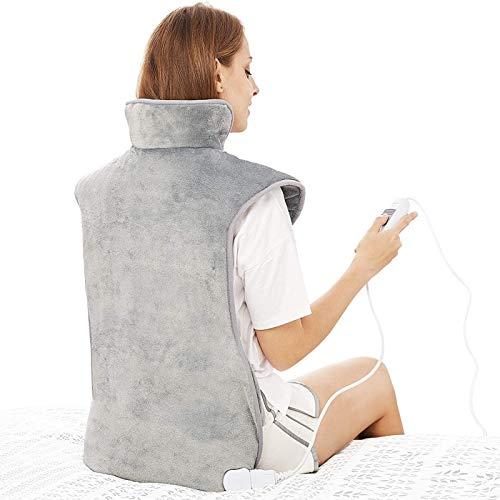 SUYUDD Almohadilla Térmica Eléctrica para Aliviar El Dolor De Espalda, Cuello Y Hombros, Almohadilla Térmica con Peso para Cuello Y Hombros, Calentamiento Rápido