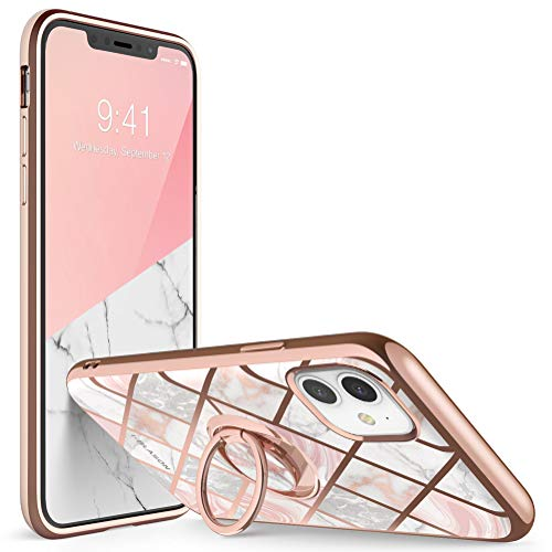 i-Blason Cosmo Snap Case Designed for iPhone 11 (2019 Release), Slim with Built-in 360 Rotatable Ring Holder Kickstand Supports Car Mount (Marble)