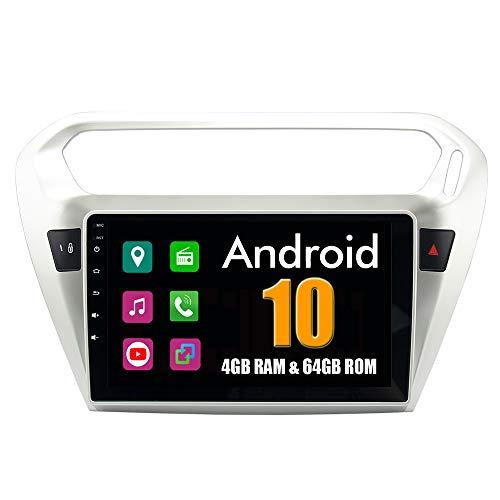 RoverOne 9 Pulgadas Sistema Android para Peugeot 301 2014 2015 2016 para Citroen Elysee 2014 2015 2016 Sistema de Autoradio con estéreo GPS Navegación Radio Bluetooth Espejo Link Pantalla Táctil