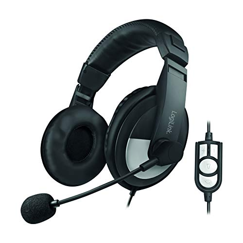 LogiLink HS0019 - USB Stereo Headset High Quality mit 180° schwenkbarem Mikrofon und Fernbedienung