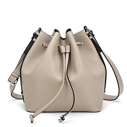 Large Bucket Bags for Women,Drawstring Shoulder Purse and Cross body Handbags with 1 Zip Pouch, Beige