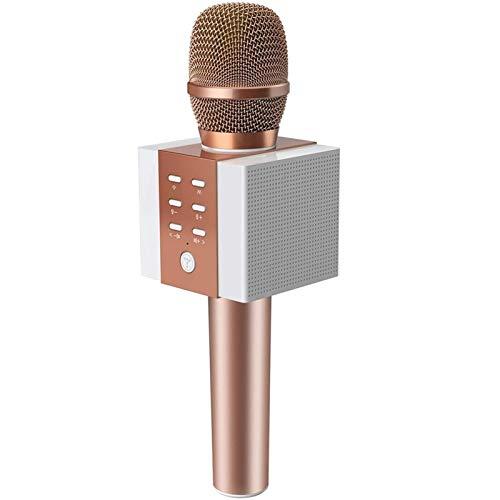 Qiandeng Micrófono de Karaoke Bluetooth inalámbrico Más Alto Volumen 10W Potencia Más Bass 3-IN-1 Portátil portátil Máquina de micrófono de Alta Altavoz para iPhone/Android/iPad/PC