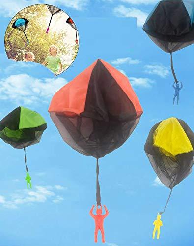 Chang Juguete de Paracaídas, 4 Piezas Juguete Paracaídas Set, Mano Que Lanza el Juguete del Paracaidista, Muy Buenos Juguetes al Aire Libre para niños, ¡Dale más Felicidad a tu Hijo