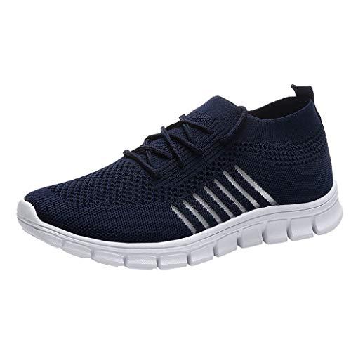 Xmiral Damen Mesh Sneakers Lässige Schnür Sportschuhe Atmungsaktive Laufschuhe (39,Blau)