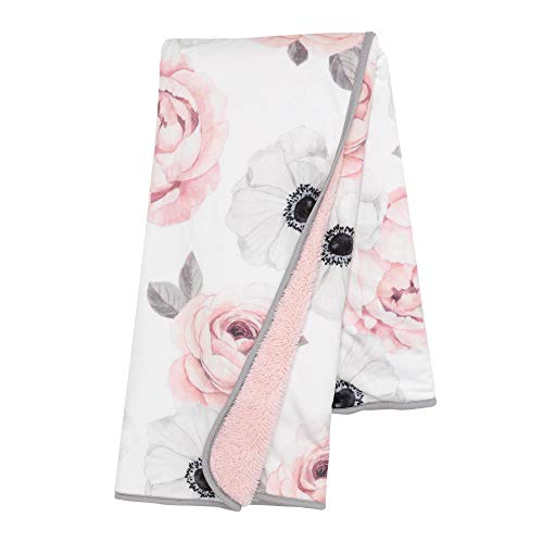 Lambs & Ivy Floral Garden Watercolor Floral Pink Ultra Soft Baby Blanket
