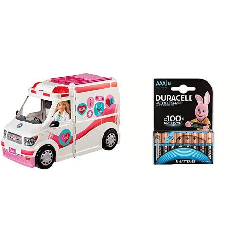 Barbie FRM19 Careers Care Clinic Ambulance, Play, Role Model, Lights and Sounds, Lots of Accessories Vehicle, Multi-Colour, 0 + Duracell Ultra AAA Alkaline Batteries, 1.5 V LR03 MN2400, Pack of 8