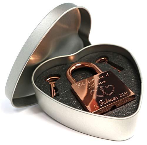 Liebesschloss rosegold glänzend mit Geschenkdose und 2 Schlüssel persönliche Gravur