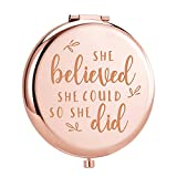 ElegantPark Unique Graduation Gifts for Her Inspirational Birthday Gifts for Women Personalized Gifts for Christmas New Year Mother Day Engraved Compact Mirror Personal Travel Makeup Mirror for Pocket