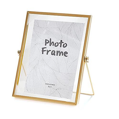 LELE LIFE Marco de fotos de metal vintage, marco de fotos de cristal, marco de fotos flotante de metal, marco de fotos dorado para escritorio, vertical, 13 x 18 cm
