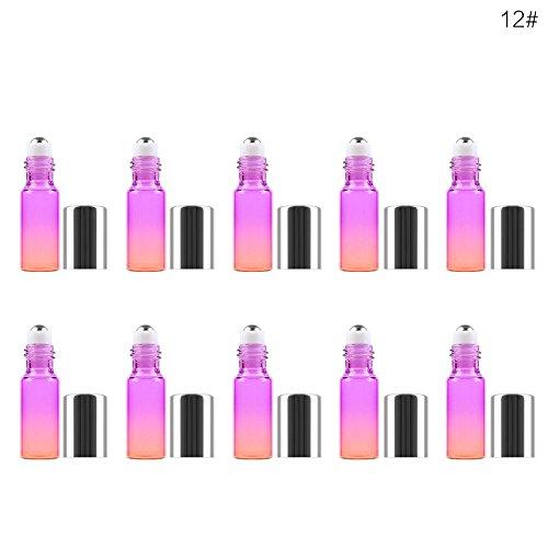 Gradient Bouteille en verre d'huile essentielle bouteilles de parfum Roll On Bouteille Ensemble de bouteilles de parfum vide pour voyage Home Parfum rechargeable (10 * 5ml)