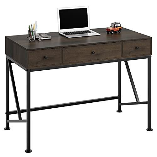 Computer Desk with 3 Drawers, 42' Wood Writing Desk for Home Office, Modern Simple Style Laptop Study Table, Makeup Vanity Console Table, Metal Frame, Easy Assembly, Dark Brown