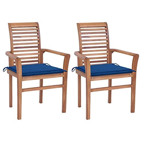 vidaXL 2X Teak Massiv Essstuhl mit Königsblauen Kissen Stapelbar Gartenstuhl Stapelstuhl Stuhl Stühle Gartenstühle Holzstuhl Sessel Gartenmöbel
