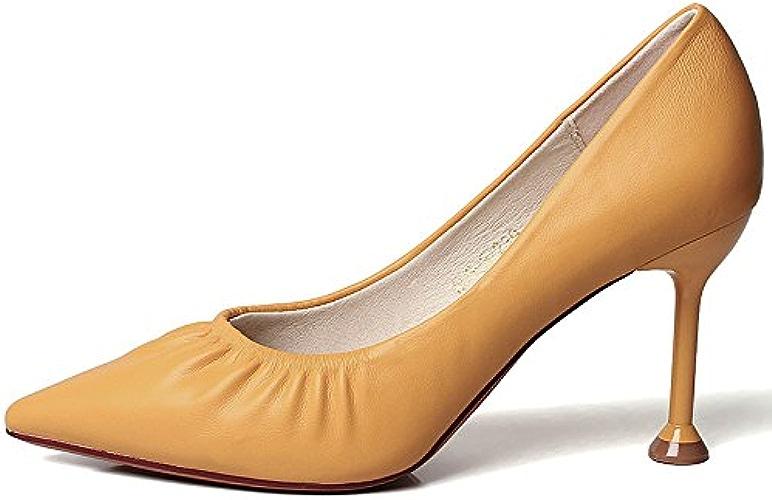 YMFIE Pointu Stiletto Sexy Bouche Peu Profonde Confortable Dames Talons Hauts Chaussures de Travail Unique Chaussures