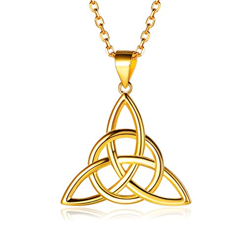 ChicSilver Gold Irish Celtic Knot Necklaces 18K Gold Plated Sterling Silver Triquetra Triangle Trinity Knot Pendant Necklace for Women Teen Girls