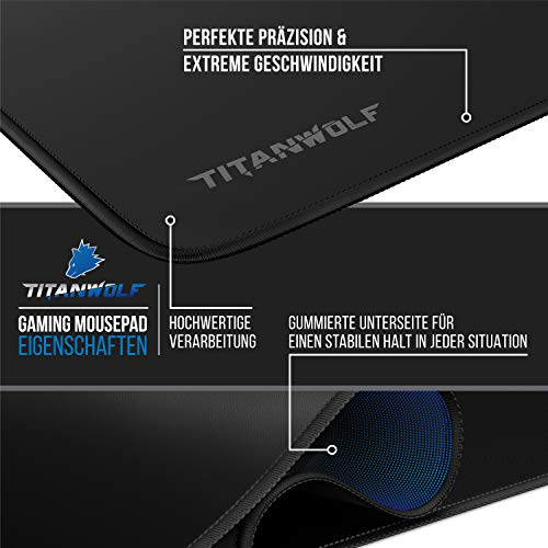 CSL - Übergröße Mauspad Gaming Titanwolf 1200x400mm - XXXL Mousepad groß mit Motiv - Tischunterlage Large Size - verbessert Präzision und Geschwindigkeit - XXL für Logitech Maus und Tastatur