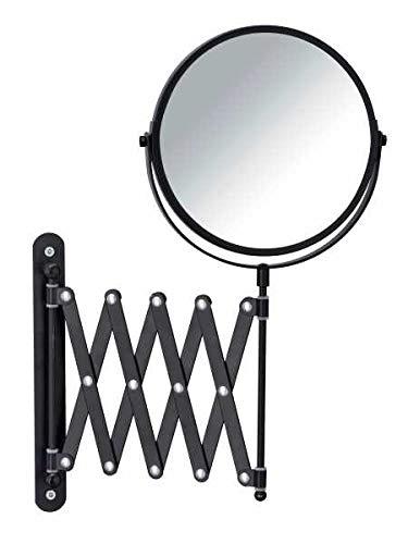 Wenko Khalia-Foto-Espejo de Pared telescópico (3, 16 cm de diámetro, Aumento del 300%), Metal, Negro, 6350 x 219 x 37, 38.5 cm
