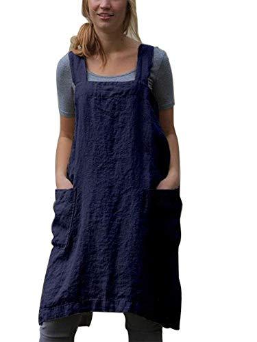nvIEFE Delantales de cocina de estilo japonés de cocina de algodón y lino, color sólido en forma de X, doble bolsillo, falda redonda (azul marino, XXL)
