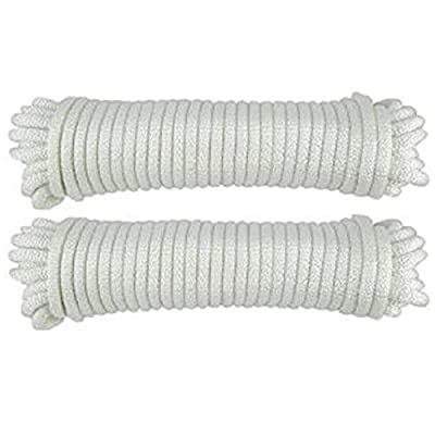 Katzco Nylon Twisted Braided Rope - 2 Pack - 3/16 Inch x 100 Foot Anchor Rope - for Moving, Camping, Towing, Outdoor Adventure, Mountain Climbing, Gardening, Boat Docks