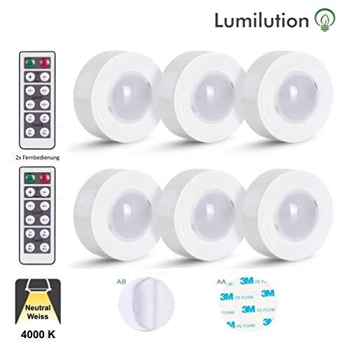 Schrankbeleuchtung LED Reinweiß | Batterie-betrieben mit Fernbedienung und Schalter dimmbar für Garderobe, Küche, Vitrinenbeleuchtung mit 3M Klebepads 6er SET kabellos [Energieklasse A+]