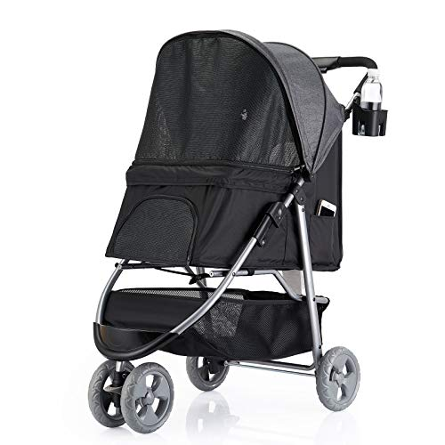 Favon 3 Wheel Pet Strollers for Small Medium Dogs & Cats,Jogging Stroller Hiking Stroller Travel Folding Doggy Carrier Strolling Cart,Waterproof Puppy Stroller