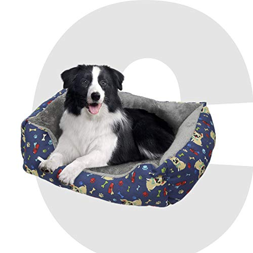 Colchoneta Mascota Cama Perro, 65 X 82 X 21 CM, Cama de Perros Grandes, Gato, Cama para Perros, Cama para Mascotas Desmontable y Extraíble Lavable (L: Tamaño Grande, Azul Hueso Tela)