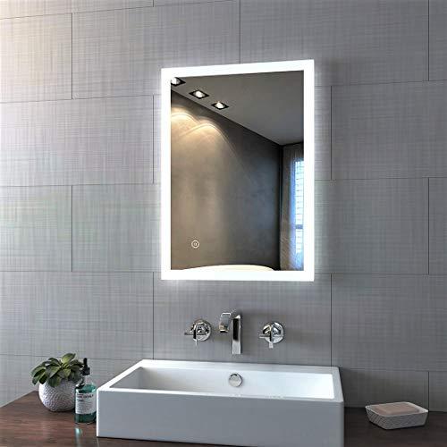 LED Badspiegel mit Beleuchtung 50x70cm, Badezimmerspiegel Wandspiegel Lichtspiegel mit Touchschalter und Beschlagfrei IP44 Energieklasse A++ kaltweiß