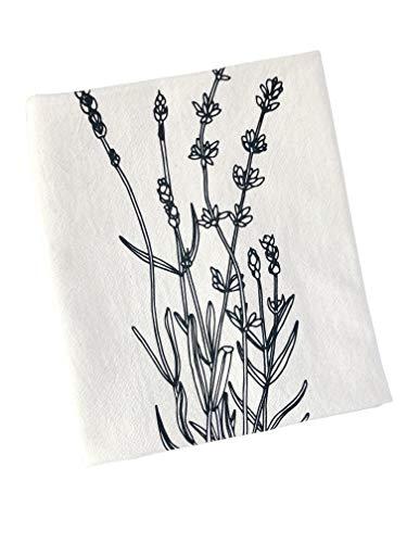 Organic Cotton Lavender Tea Towel in Black