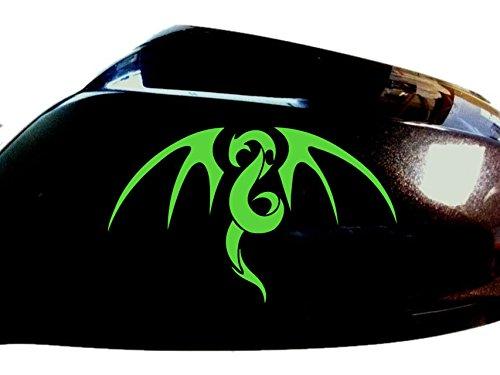 Tribal Drachen Auto-Aufkleber Außenspiegel Styling Abziehbild (2er-Set) , Neon Grün